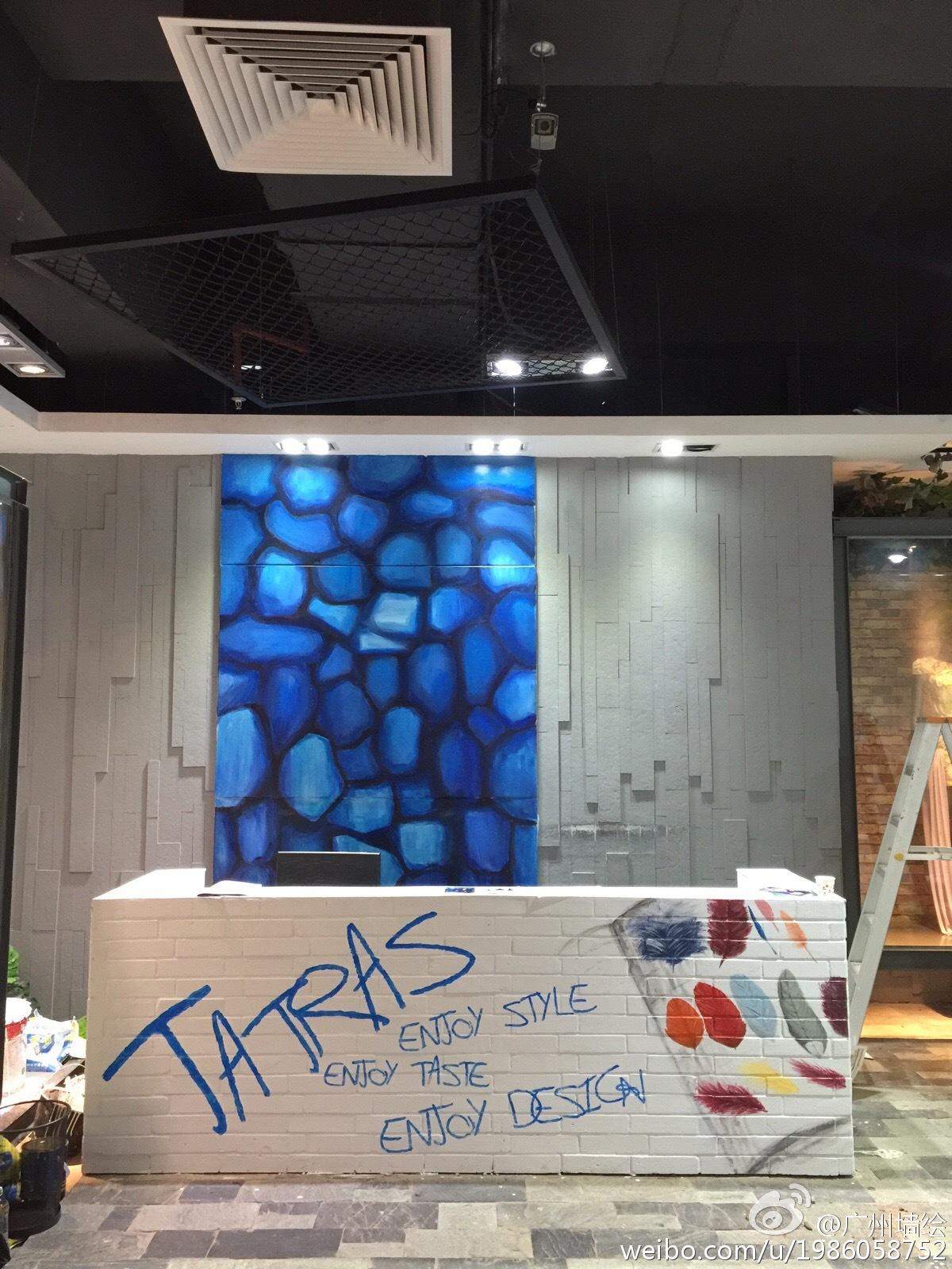 广州墙绘餐厅手绘墙 小清新的